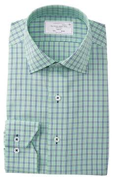 Lorenzo Uomo Textured Plaid Trim Fit Dress Shirt