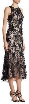 Theia Petal Beaded Hi-Lo Dress