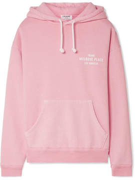 Frame Oversized Printed Cotton-jersey Hooded Top - Baby pink