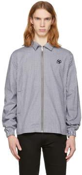McQ Black and White Gingham Zip Windbreaker Jacket