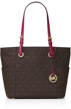 MICHAEL Michael Kors Jet Set East/West Signature Tote - BROWN/CHERRY/GOLD - STYLE