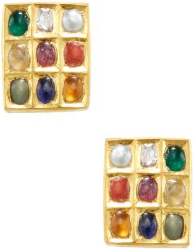 Amrapali Women's 22K Yellow Gold & Navratna Square Stud Earrings