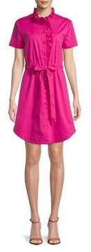Isaac Mizrahi IMNYC Tie-Front Ruffle Collar Poplin Shirt Dress
