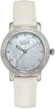 Burgi Women's Reed Crystal Leather Watch