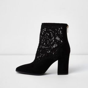 River Island Womens Black lace insert block heel pointed boots