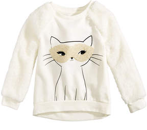 Epic Threads Chenille Mask Cat-Graphic & Faux Fur Sweatshirt, Toddler Girls (2T-5T), Created for Macy's