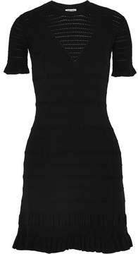 Kenzo Fluted Textured-knit Mini Dress - Black