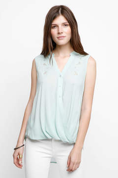 Ark & Co Surplice Embroidered Button Front Tank Top