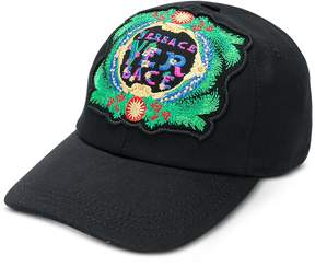 Versace Black Cotton Unisex Baseball Cap w/Beverly Palm Embroidery