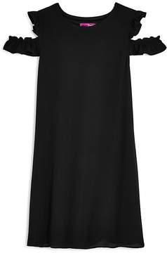 Aqua Girls' Textured Cold-Shoulder Chiffon Shift Dress, Big Kid - 100% Exclusive