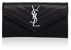 Saint Laurent Large Flap Monogramme Silvertone Wallet - BLACK - STYLE