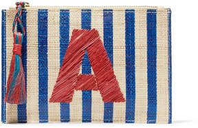 Kayu Alphabet Embroidered Striped Woven Straw Pouch - Beige
