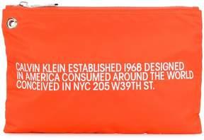 Calvin Klein embroidered text clutch bag