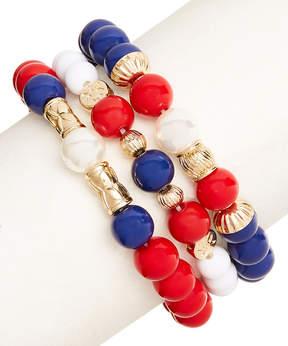 Carole Three-Piece Red & Blue Stretch Bracelet Set