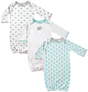 Luvable Friends White & Mint Elephant Gown Set - Newborn
