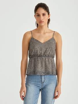 Frank and Oak Printed Ruffle Slip Cami in Burnt Olive