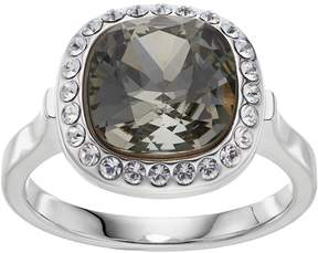 Brilliance+ Brilliance Silver Plated Cushion Halo Ring with Swarovski Crystals
