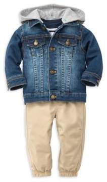 Little Me Baby Boy's Three-Piece Cotton Top, Pants and Denim Jacket Set