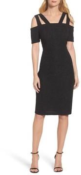 Eliza J Women's Shimmer Cold Shoulder Sheath Dress
