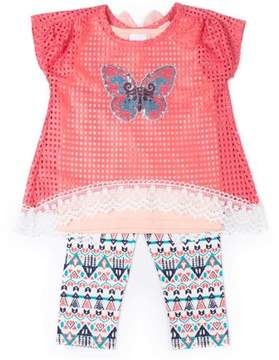 Little Lass Little Girls' 4-6X Bow Back Geometric Lace Top, Cami Tank and Capri Legging 3-Piece Set