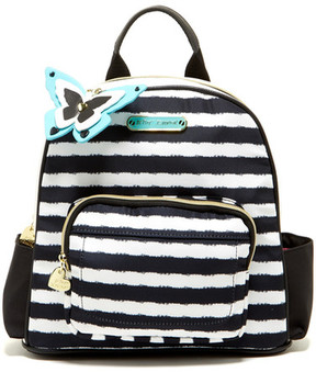 Betsey Johnson Medium Nylon Backpack with Faux Fur Key Fob