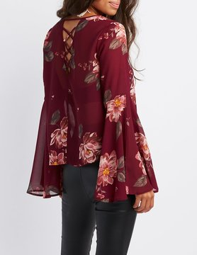 Charlotte Russe Floral Lattice-Back Bell Sleeve Top