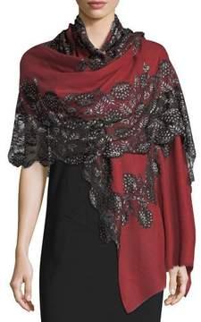 Bindya Pumice Lace-Overlay Evening Stole/Wrap