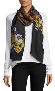 Etro Painted Floral & Snake-Print Scarf