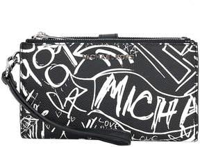 Michael Kors Black Grafitti Jet Set Double-Zip Leather Wristlet