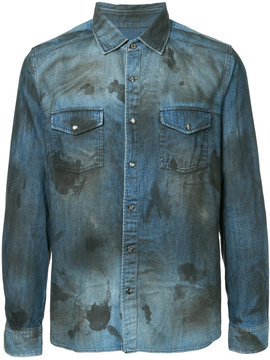 Roar stain effect denim shirt