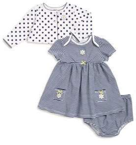 Little Me Baby's Three-Piece Cotton Jacket, Dress and Bloomers Set
