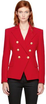 Balmain Red Classic Six-Button Blazer