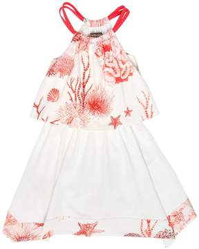 Roberto Cavalli Coral Printed Cotton Jersey Dress