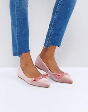 Glamorous Pink Velvet Bow Ballet Flat Shoes
