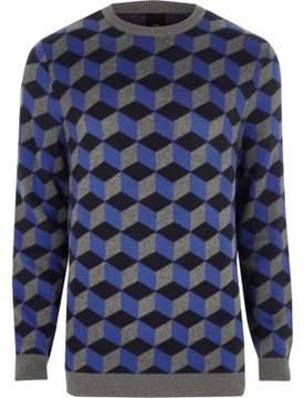 River Island Mens Blue geo crew neck sweater