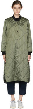 6397 Green Quilted Long Bomber Coat