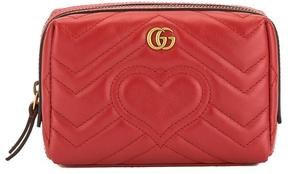 Hibiscus Red Matelasse Leather GG Marmont Cosmetic Case