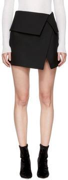 Balmain Black Wool Asymmetric Miniskirt