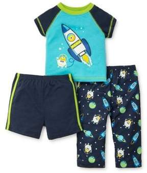 Little Me Little Boy's Three-Piece Rocket Graphic Tee, Shorts and Pants Pajama Set