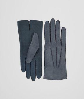 Bottega Veneta Glove In Krim Denim Suede, Intreccio Details
