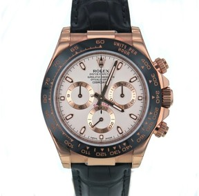 Rolex Daytona 116515 18K Rose Gold & Leather White Dial Automatic 40mm Mens Watch 2017