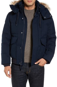 Andrew Marc Men's Down Herringbone Jacket With Genuine Coyote Fur Trim