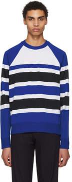 Ami Alexandre Mattiussi Blue and White Striped Crewneck Sweater
