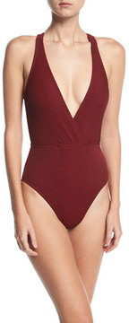LaBlanca La Blanca Sin Plunging Surplice Textured One-Piece Swimsuit