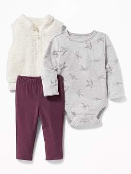 Old Navy Sherpa Vest, Printed Bodysuit & Leggings 3-Piece Set for Baby
