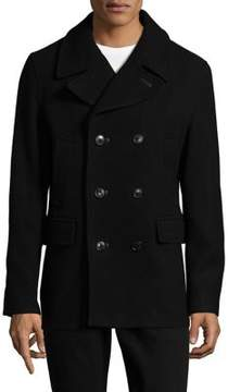 Pendleton Leather Trim Double-Breasted Coat