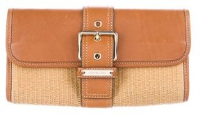 MICHAEL Michael Kors Leather-Trimmed Straw Clutch - BROWN - STYLE