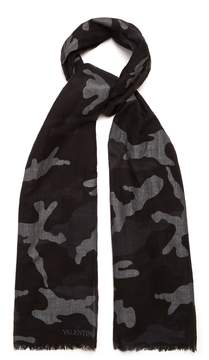 Valentino Camouflage-print cotton-blend scarf