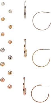 Carole Nine-Pair Tri-Tone Stud & Hoop Earrings Set