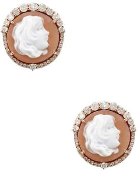 Artisan Women's 18K Rose Gold Cameo Diamond Earrings
